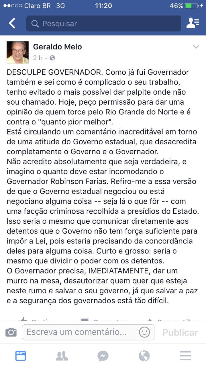 Geraldo Melo desabafo